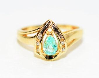 Paraiba Tourmaline & Diamond .46tcw 10kt Yellow Gold Pear Gemstone Women's Ring