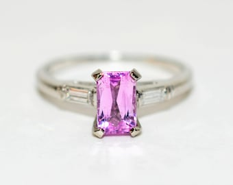 Pink Spinel & Diamond 1.50tcw Platinum Statement Gemstone Engagement Women's Ring