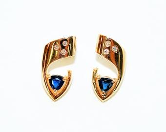 Sapphire & Diamond 1.09tcw 14kt Yellow Gold Gemstone Drop Women's Earrings