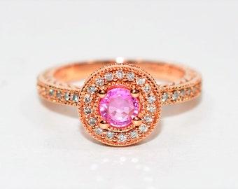 Effy Pink Tourmaline & Diamond .77tcw 14kt Rose Gold Pave Halo Women's Ring