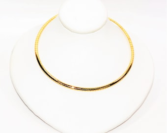 3mm 14kt Yellow Gold Fine Italian Omega Chain Women's Necklace