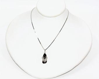 Diamond .01ct 10kt White Gold Sandal Flip Flop Pendant Women's Necklace