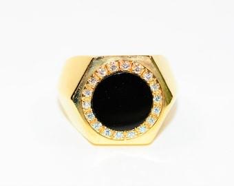 Onyx & .18tcw Diamond 14kt Yellow Gold Halo Statement Men's Ring