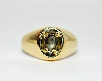 Star Sapphire .70ct 10kt Yellow Gold Solitaire Gemstone Men's Ring