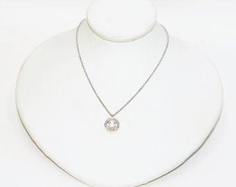 Designer Dev Valencia Diamond .13tcw 18kt White Gold Smiley Face Pendant Necklace
