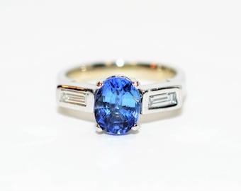Unheated Tanzanite & Diamond 2.26tcw Platinum Fine Engagement Women's Ring