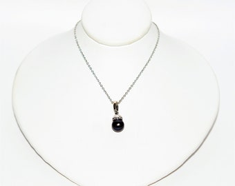 Black Tahitian Pearl 7.25mm 14kt White Gold Solitaire Pendant Women's Necklace
