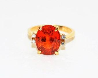 Spessartine Mandarin Garnet & Diamond 6.49tcw 14kt Yellow Gold Women's Ring