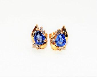 Ceylon Sapphire & Diamond 1.68tcw 14kt Yellow Gold Gemstone Women's Earrings