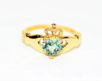 Certified Paraiba Tourmaline .72ct 14kt Yellow Gold Irish Claddagh Heart Ring
