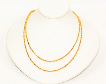 """14kt Yellow Gold 36"""" 6.9 Grams 1.50mm Diamond Cut Rope Long Chain Necklace"""