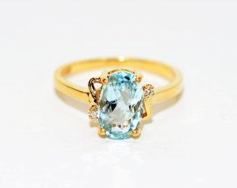 Certified Paraiba Tourmaline & Diamond 1.82tcw 14kt Yellow Gold Statement Ring