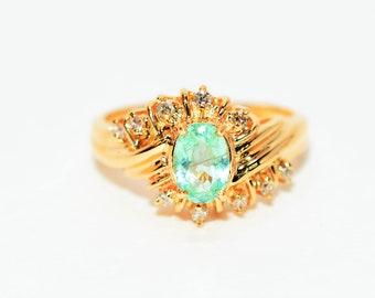 Paraiba Tourmaline & Diamond .80tcw 14kt Yellow Gold Fine Gemstone Women's Ring