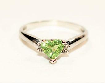 Merelani Mint Garnet & Diamond 1.33tcw 14kt White Gold Heart Women's Ring