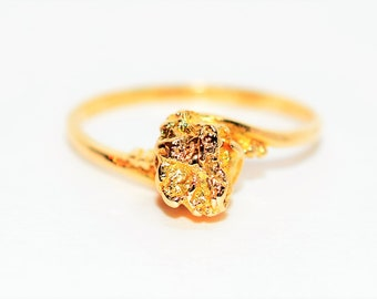 Gold Nugget 10kt/22kt Yellow Gold No Stone Natural Statement Women's Ring