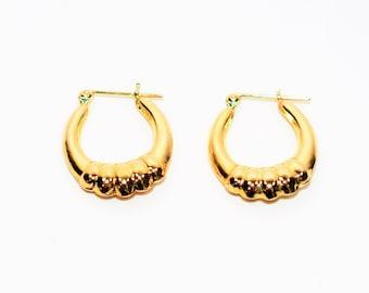 14kt Yellow Gold 17.50mm Fashion Hoop Statement Women's Earrings