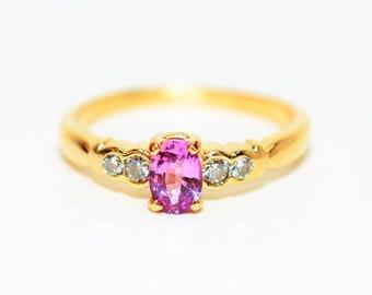 Certified Padparadscha Sapphire & Diamond .56tcw 14kt Yellow Gold Women's Ring