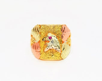 Ruby .03ct 10kt Yellow Black Hills Gold Eagle Statement Solitaire Men's Ring