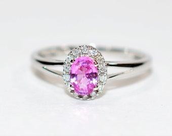 Padparadscha Sapphire & Diamond .68tcw 14kt White Gold Halo Women's Ring