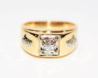 Diamond .35tcw 14kt Yellow & White Gold Cluster Statement Men's Ring