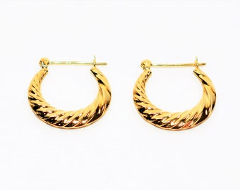 14kt Yellow Gold 5mm Twist Textured Hoop Statement Women's Earrings