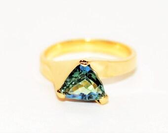 Unheated Tanzanite 1.71ct 14kt Yellow Gold Solitaire Fine Gemstone Women's Ring