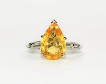 Golden Beryl & Diamond 4.94tcw Platinum Statement Engagement Women's Ring
