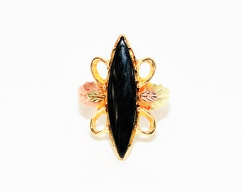 Onyx 10kt Yellow Black Hills Gold Marquise Statement Tri-Tone Women's Ring
