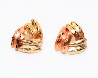 14kt Yellow White & Rose Gold Tri-Tone Stud Women's Earrings
