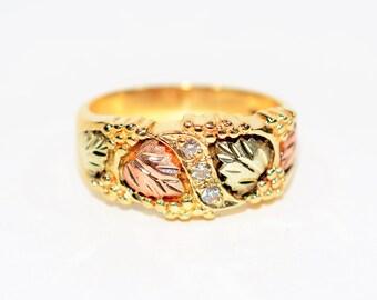 Diamond .09tcw 10kt Black Hills Yellow Gold Vine Leaf Statement Men's Band Ring
