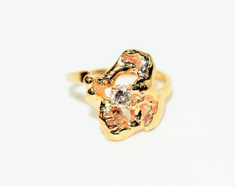 GIA Certified Diamond .19ct 14kt Yellow Gold Poured Nugget Statement Women's Ring