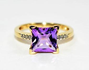 Amethyst & Diamond 2.06tcw 10kt Yellow Gold Statement Women's Ring