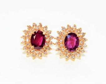 Ruby & Diamond 3.44tcw 14kt Yellow Double Gold Halo Stud Women's Earrings