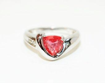 Certified Padparadscha Sapphire & Diamond 1.23tcw 14kt White Gold Women's Ring