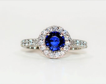 Ceylon Sapphire & Diamond 1.57tcw 14kt White Gold Engagement Women's Ring