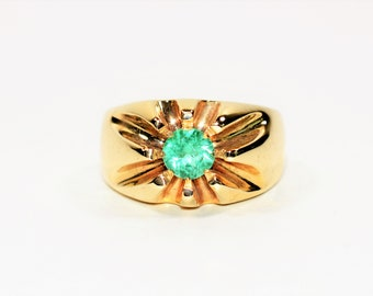 Colombian Emerald 1.50ct 10kt Yellow Gold Solitaire Statement Men's Ring