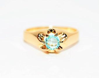 Paraiba Tourmaline .70ct 14kt Yellow Gold Solitaire Statement Gemstone Men's Ring