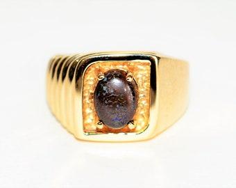 Australian Boulder Opal 2.16ct 10kt Yellow Gold Statement Solitaire Men's Ring