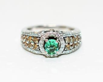 LeVian Paraiba Tourmaline & Fancy Diamond 1.31tcw 14kt White Gold Ring