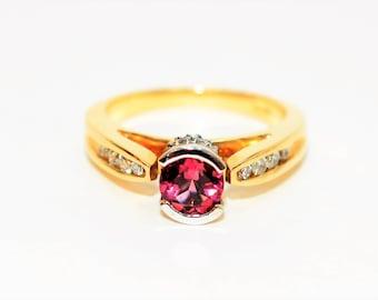 Pink Tourmaline & Diamond 1.05tcw 14kt Yellow White Gold Two-Tone Women's Ring