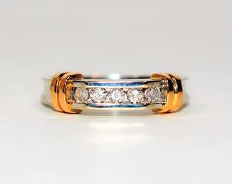 Diamond .30tcw 14kt White & Yellow Gold Two-Toned Band Men's Ring