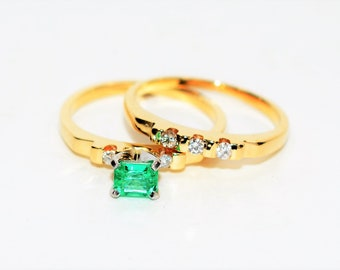 Colombian Emerald & Diamond .61tcw 14kt Yellow Gold Women's Ring Band Wedding Set