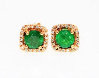 Effy Colombian Emerald & Diamond 1.30tcw 14kt Gold Halo Stud Women's Earrings