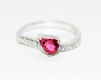 Ruby & Diamond 1.20tcw 18kt White Gold Fine Pave Pear Gemstone Women's Ring