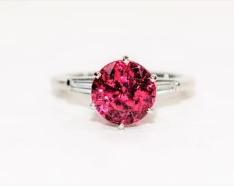 GIA Certified Rubellite Tourmaline & Diamond 3.02tcw Platinum Engagement Women's Ring