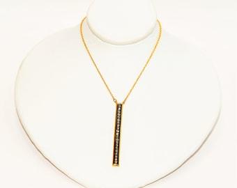 LeVian Chocolate Diamond .33tcw 14kt Yellow Gold Bar Pendant Women's Necklace