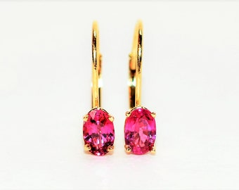 Ruby 1.20tcw 14kt Yellow Gold Solitaire Gemstone Dangle Hoop Women's Earrings