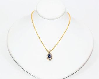 Ceylon Sapphire & Diamond .86tcw 14kt Yellow Gold Pendant Necklace