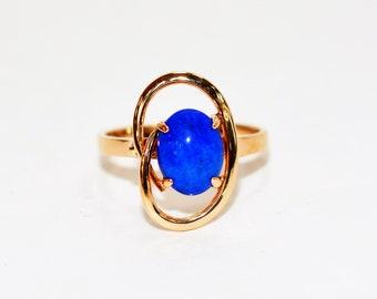 Lapis Lazuli 14kt Rose Gold Solitaire Fine Gemstone Women's Ring
