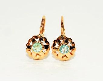 Paraiba Tourmaline .50tcw 18kt Rose Gold Dangle Solitaire Women's Earrings